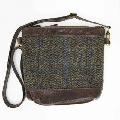 Brown Leather with Harris Tweed Acorn Crossbody