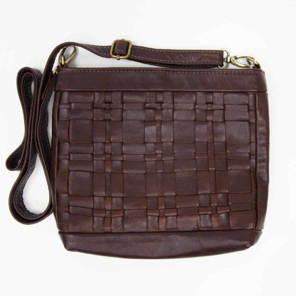 Chestnut Woven Leather Handbag