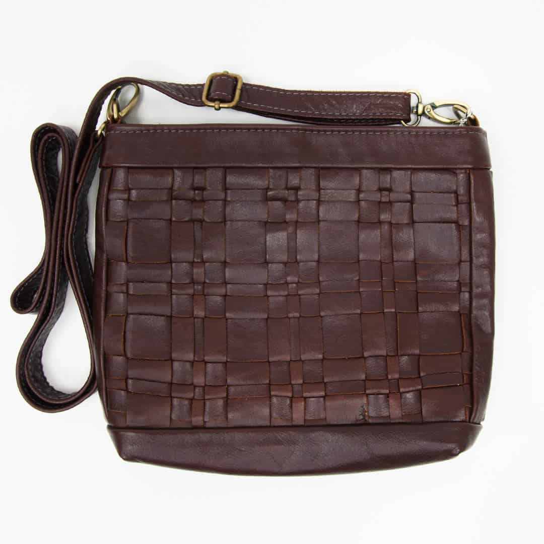 Chestnut Woven Leather Handbag