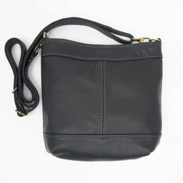 Navy Swish Leather Crossbody Handbag