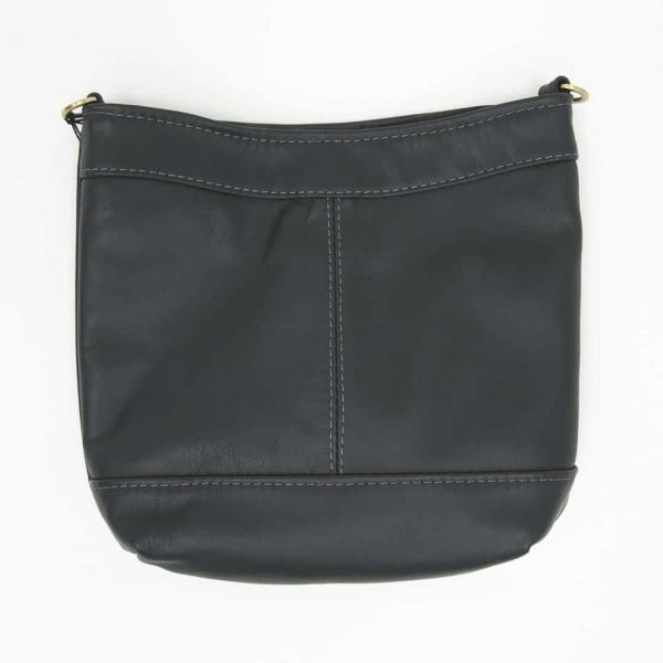 Navy Swish Leather Crossbody