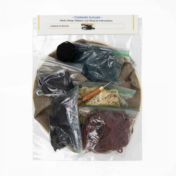 Rug hooking kit - Web - sand rust green